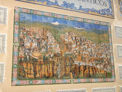 Ceramic tilework does a nice job of showing the town; Lee and I had visited before
