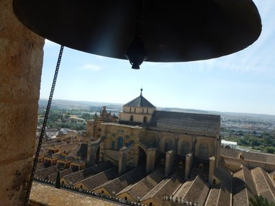 From the belltower it's easy to see the Christian church that was built right inside the world's third largest mosque