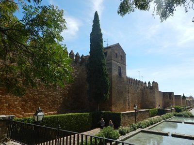Ancient city walls surrounded by Jardines de la Victoria; much easier to navigate outside the walls than in the maze of interior streets