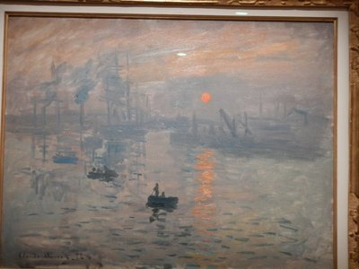 Monet, Impression: Sunrise, 1872; this is one of the paintings that gave the Impressionist movement its name