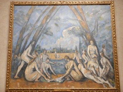 The Large Bathers, Paul Cezanne, 1906; this is the largest, the last, and in many ways the most ambitious work from Cezanne's lifelong exploration of the bather motif