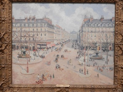 Avenue de l'Opera: Morning Sunshine, Camille Pissarro, 1898; he was the only artist to show his work at all 8 Paris Impressionist exhibitions, from 1874 to 1886; father figure to all major Post-Impressionists-Seurat, Cézanne, van Gogh, and Gauguin
