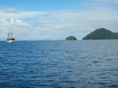 This was the location of our dive; the islands are typical of Raja Ampat as they are unpopulated, forested and lacking beaches