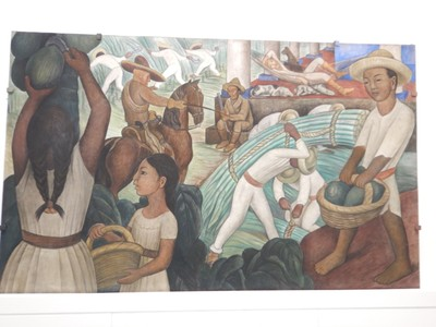Sugar Cane, Diego Rivera, 1931; created for an exhibit at the Museum of Modern Art in NYC in 1931, this scene was based on a full-scale fresco he had painted at the Palace of Cortes in Cuernavaca