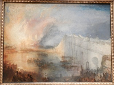 The Burning of the Houses of Lords and Common, JMW Turner, 1834; along with thousands of others, Turner himself witnessed the burning ot Parliament on the evening of October 16, 1834, from the south bank of the River Thames, opposite Westminster