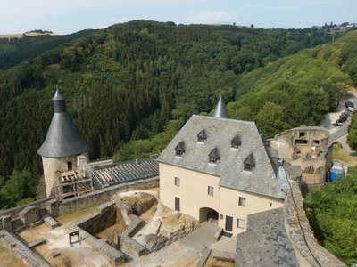 The outer circular walls of the castle were built between 1350 and 1384; the castle deteriorated over the centuries but the Luxembourg government bought it in 1972 and began excavations and rehabilitation