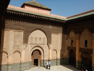 12th century Ben Youssef Mosque is the oldest in Marrakech; today it is only half the size of the original