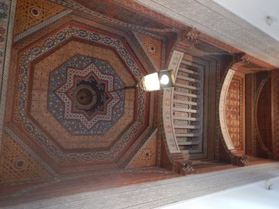 Ceiling in 19th century Bahia Palace; palace was built by the Grand Vizier of Marrakech for his 4 wives and 24 concubines plus all the kids