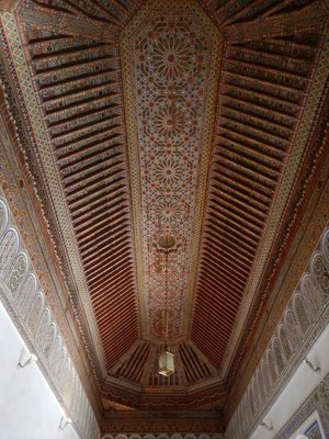 Bahia Palace ceiling; Marrakech is the French spelling but in English the city is usually Marrakesh