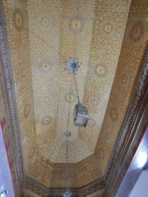Bahia Palace ceiling; Marrakech has the largest traditional market (souk) in Morocco