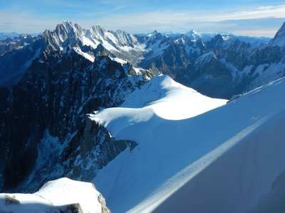 View from Aiguille du Midi of the Italian Alps; France, Switzerland and Italy converge near here