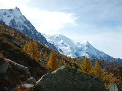 Mont Blanc is in the middle; tallest mountain in Western Europe