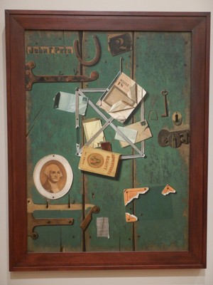 A Closet Door, John Frederick Peto, 1904-06; a letter rack, which held notes, cards and other mementos, was a highly personal subject for trompe l'oeil painters that effectively served as a complex portrait of the artist himself