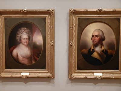 Martha Washington (1856) and George Washington (1846), Rembrandt Peale; Peale boasted that, as the last living artist to have met the Washingtons, his paintings were the most reliable representations