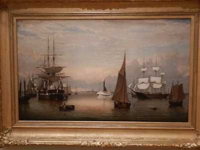 Boston Harbor, Fitz Henry Lane, 1856; born in Gloucester, Massachusetts, the painter and printmaker was famous for his style that would later be called Luminism, for its use of pervasive light
