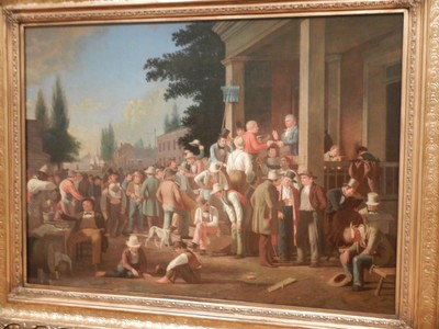 The County Election, George Caleb Bingham, 1851-52; although born in Virginia and thus a Southerner, Bingham was elected as a delegate to the Missouri legislature before the American Civil War where he fought against the extension of slavery westward