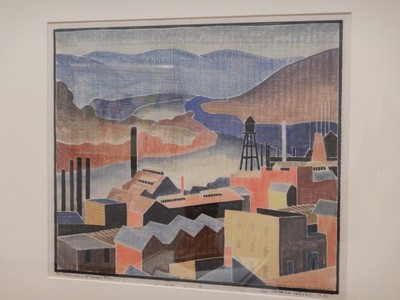 The Monongahela at Morgantown, Blanche Lazzell, 1933; this piece is a woodcut on paper with the artist using the backside of a spoon to apply pressure to the paper; this technique allowed her to achieve subtle effects of color and texture