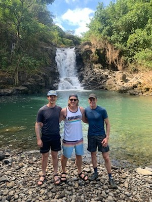 Three amigos as we start the Four Waterfalls Hike; you have to receive a negative Covid test result no more than 72 hours before flying to Hawaii