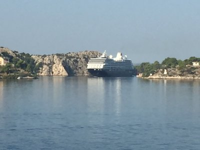 It was fascinating watching Marilyn and Dorothy's ship come through the narrow channel to the port of Sibenik; not many cruise ships call on the small port