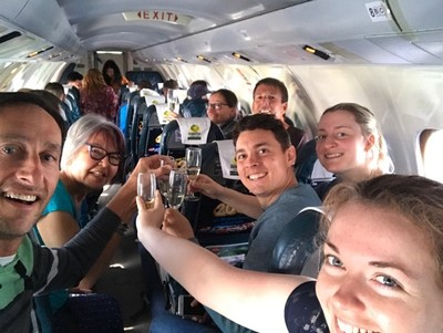After seeing Mount Everest, champagne was served to celebrate; everyone on the plane had a window seat and we flew out to Everest and back so both sides of the plane got the same views