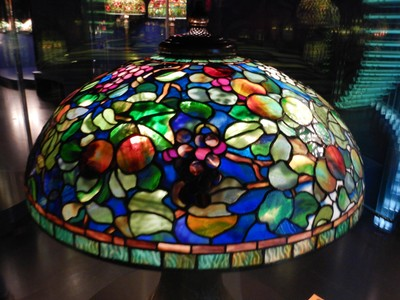Fruit Shade (ca. 1900-06); unlike most of the shades produced by Tiffany Studios, this model has no pattern repeats in the design