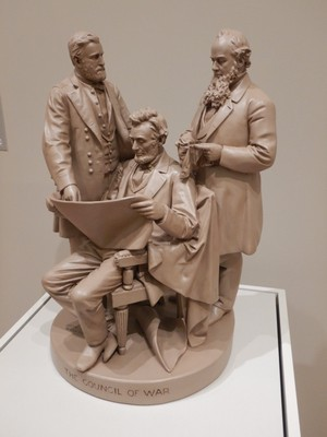 The Council of War, John Rogers, 1868; the sculptor sold his work through mail order catalogs (this one was $25 and shows General U.S. Grant, President Lincoln and Secretary of War Stanton)