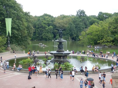 Bethesda Terrace and Bethesda Fountain mark one of the most photogenic spots in Central Park; covering 843 acres, it is the most visited urban park in the US, with roughly 45 million visitors annually, and is the most filmed location in the world