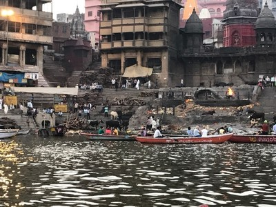 The Manikarnika Ghat, one of the oldest in Varanasi; according to Hinduism, it is believed that a dead human's soul finds salvation, when cremated here