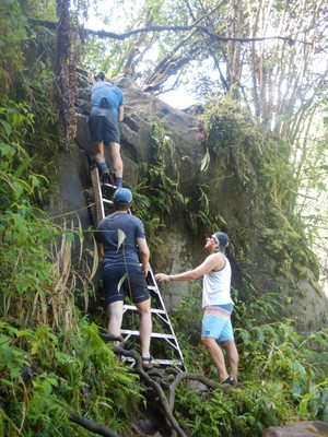 A kind stranger donated this ladder to help climbers up to the second waterfall on our Four Waterfalls Hike; fortunately Ben and Morgan did this hike in November and knew the route and had good tips