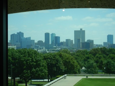 View of downtown from the museum; the museum's original collection of 300  works of art by Frederic Remington and Charles M. Russell was assembled by Fort Worth newspaper publisher and philanthropist Amon G. Carter, Sr.