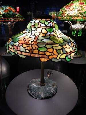Mushroom Base (ca. 1900-04) with Nasturtium Shade (ca. 1900-04); one area of the exhibit focused on Tiffany knock-offs and how to tell the difference between a real Tiffany product and the many fakes