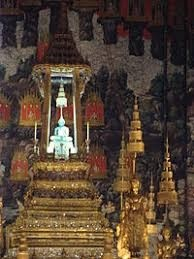 The Temple of the Emerald Buddha is generally believed to have been crafted in 14th-century Thailand; men must wear long pants and sleeved shirts while women must wear long skirts and have their shoulders covered
