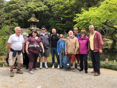 Most of our group at Kenrokuen Garden; our group has no smokers and those 65 years old and over got in free