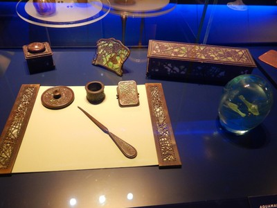Elaborate desk sets (like this Etched Metal and Glass model ca. 1900-06) were an important part of Tiffany Studios' production and were a favorite of the gift-buying public