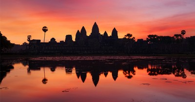We left the hotel at 4:30am to see Angkor Wat at sunrise but our visit  coincided with the only days of rain on our entire month-long trip; this photo is what sunrise could have looked like if we'd had better weather