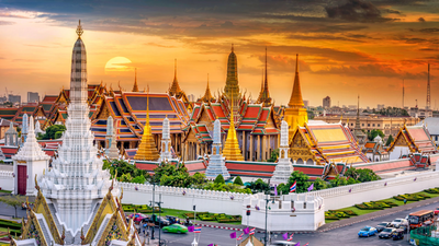 This stock photo was the best I could find to show the enormity of the Grand Palace complex; it is Bangkok's most popular tourist attraction and a pilgrimage destination for Buddhists