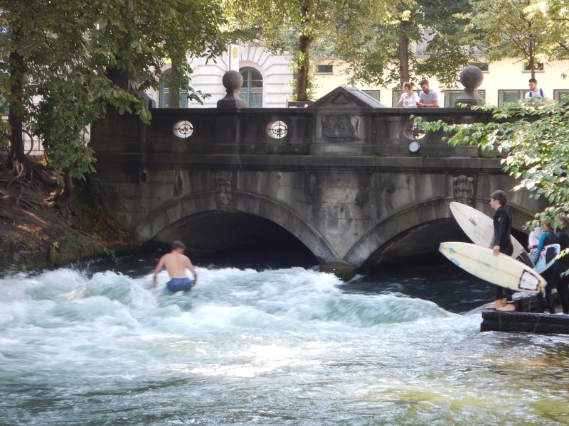 One of the biggest attractions of the English Garden is a spot created for surfers; Munich's Central Park is the largest urban park in Europe extends north more than 3 miles