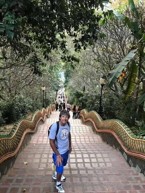 There were 306 steps up to Wat Phra That Doi Suthep; this sacred site to many Thai people is 15 kilometers outside of Chiang Mai