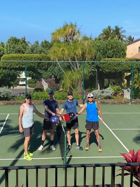 Ben's latest passion is pickle ball so we starting most mornings on the court right outside the front door of our condo; Ben's parents joined us in Maui for our first week