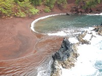 Kaihalulu Beach is the famous red sand beach in Hana; it was drizzling with rough seas when we visited so not the ideal beach day