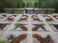 The Quilt Garden represents an interpretation of a handicraft common in the Southern Appalachian region; this garden uses the Log Cabin block pattern