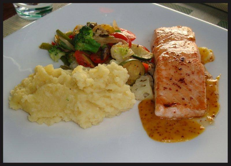 Grilled Thai Salmon With Wholegrain Mustard Sauce