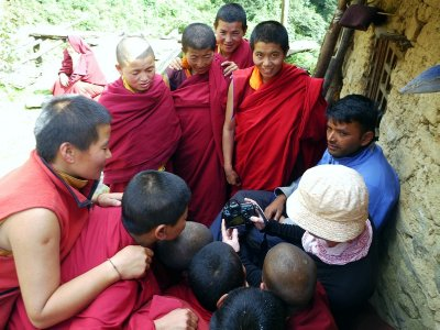 The nuns of Gumba Lundang are fascinated by our camera