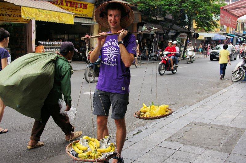 Chris tries his hand as a street vendor