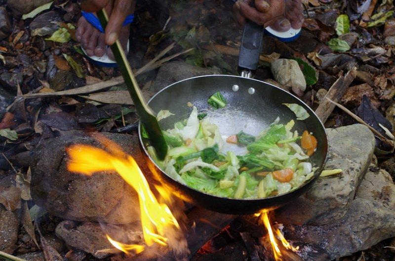 Kiem's wok, one of the few nods to modern technology