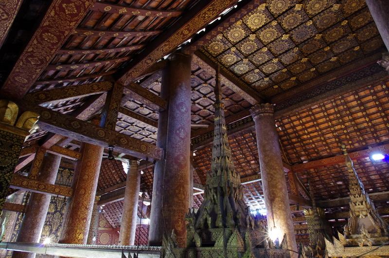 The ornate interior of Wat Xieng Thong in Luang Prabang