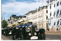 An exhibition of classic cars along Helsink's roads.
