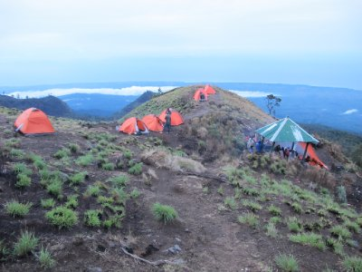 Base Camp at Rinjani - with the ocean in the background.