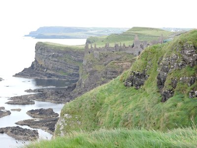 Looking towards Dunluce Castle with Giant's Causeway in the distance