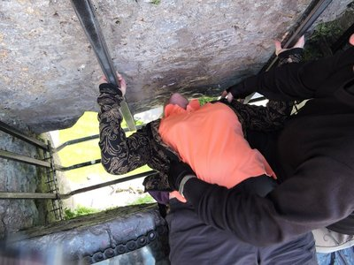 Almost kissing the Blarney Stone!!